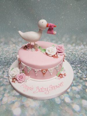 baby shower cake|stork cake