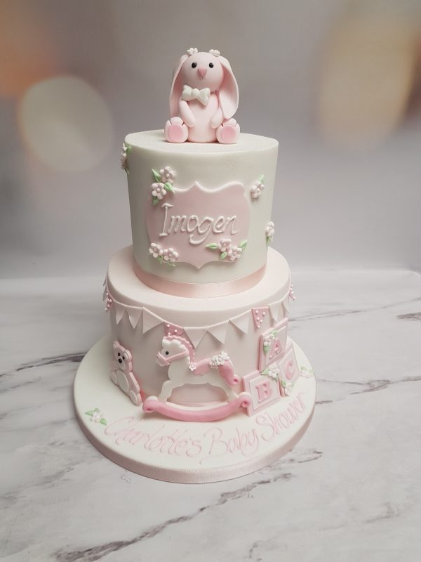 girls baby shower cake|rocking horse cake