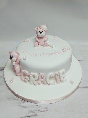 christening cake|bear cake