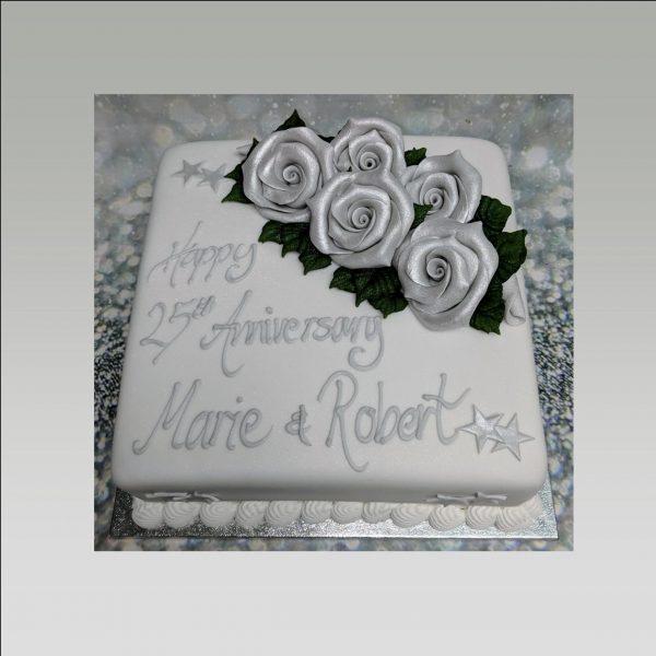 25th anniversary cake|silver anniversary cake