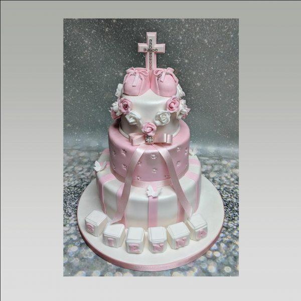 girls christening cake|christening cake|3 tier cake