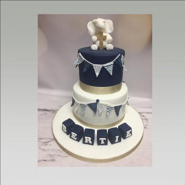 christening cake|elephant cake