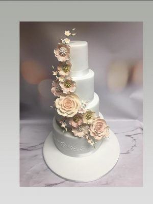 flower cascade wedding cake|4 tier wedding cake