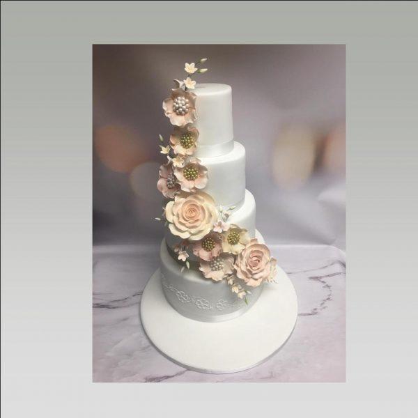 flower cascade wedding cake|4 tier wedding cake