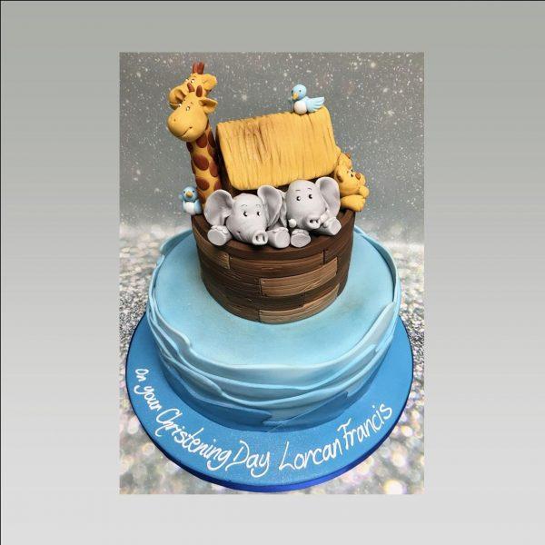 christening cake|noahs arc cake