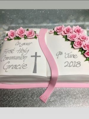 girls holy communion cake|girls christening cake|open bible