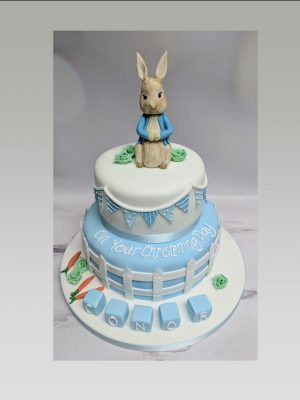 peter rabbit christening cake