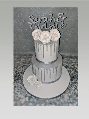 silver anniversary cake|25th anniversary cake|drip cake