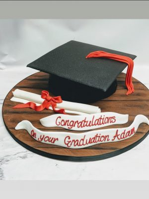 cap and scroll cake|graduation cake