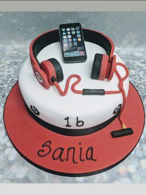 headphones cake|I Phone cake