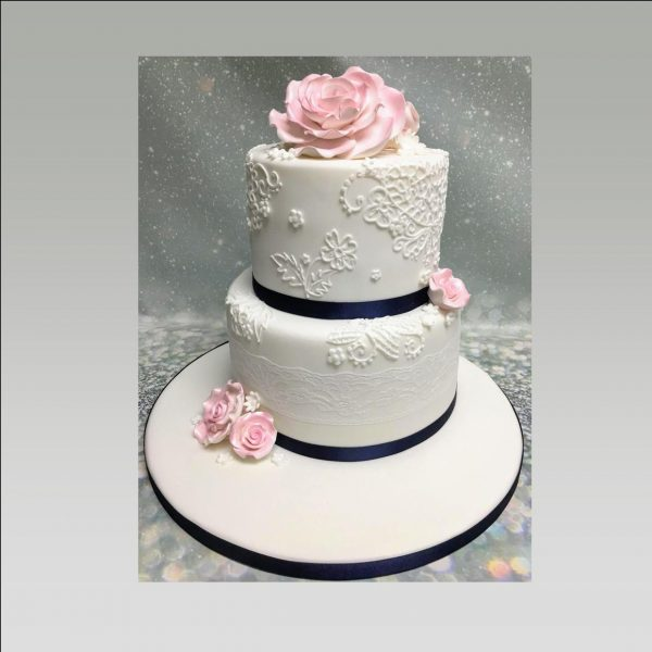Anniversary cake| lace cake