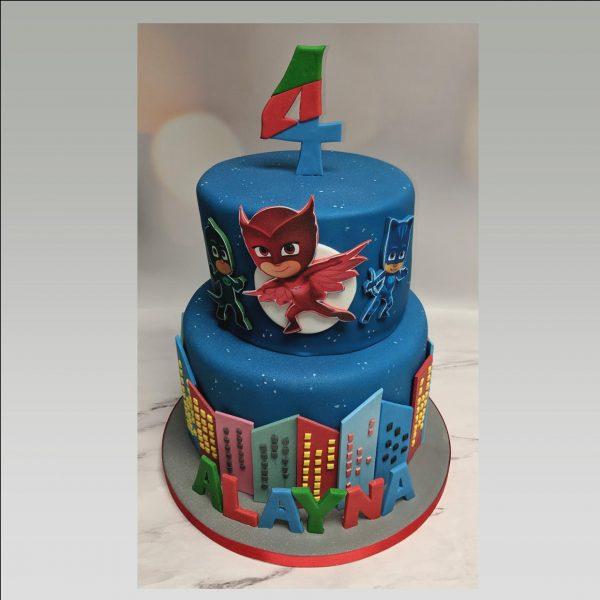 pj masks cake|2 tier pj masks cake