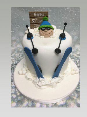 Ski-ing cake|snow boarding cake