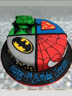super hero cake|spider man cake|batman cake|hulk cake|superman cake