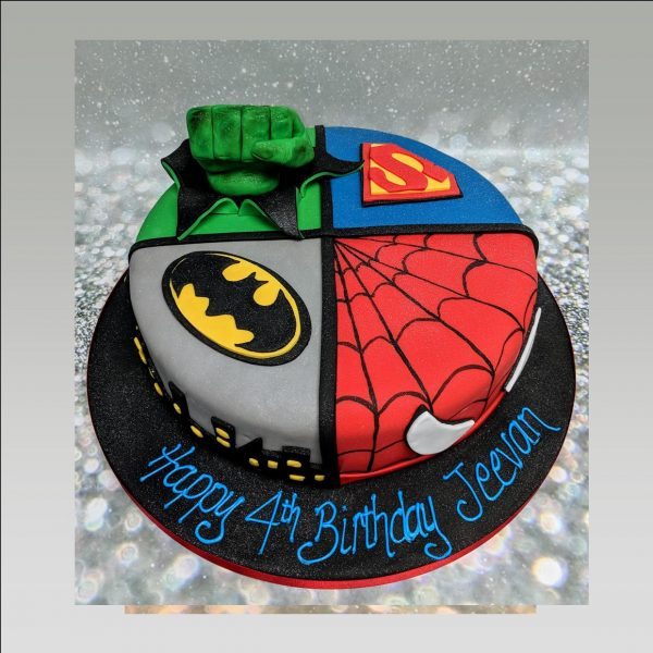 super hero cake|spider man cake|batman cake|hulk cake|superman cake