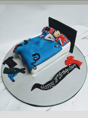 bed cake|teenager cake|union jack cake