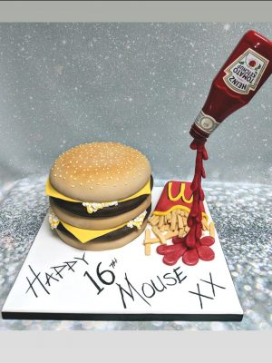 Mc donalds cake|burger and fries