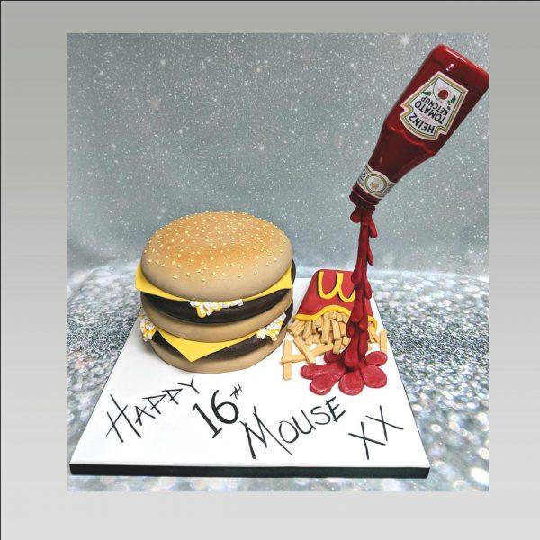 Mc donalds cake|burger and fries