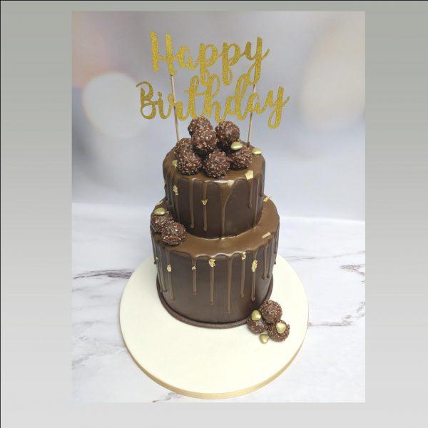 ferrero rocher cake|drip cake|chocolate cake|cake topper