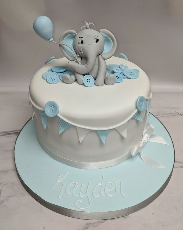 elephant cake/baby shower cake for boys