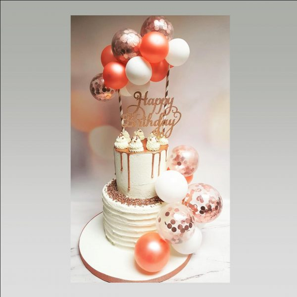 balloon cake/rose gold cake