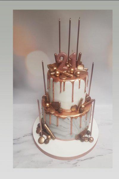 rose gold cake|drip cake